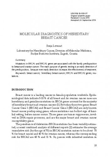 Molecular diagnostics of hereditary breast cancer