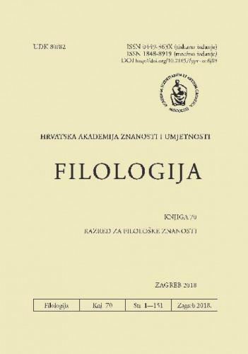 Knj. 70(2018) : Filologija : časopis Razreda za filološke znanosti Hrvatske akademije znanosti i umjetnosti