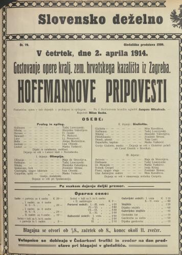 Hoffmannove pripovesti Fantastična opera v treh dejanjih s prologom in epilogom