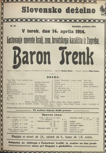 Baron Trenk : Opereta v 3 dejanjih
