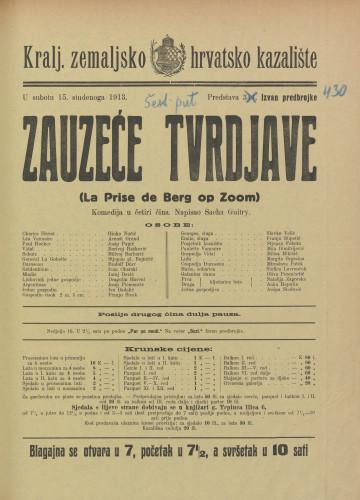 Zauzeće tvrdjave : Komedija u četiri čina  =  La Prise de Berg op Zoom