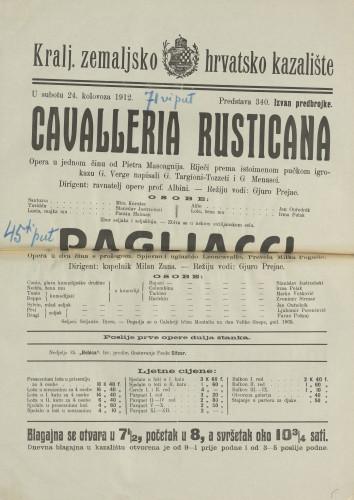 Cavalleria rusticana ; Pagliacci : Opera u jednom činu: Opera u dva čina s prologom / Giovanni Verga
