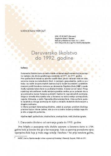 Daruvarsko školstvo do 1992. godine / Vjenceslav Herout
