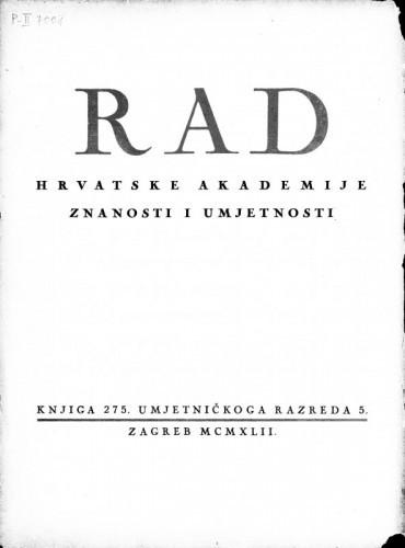 Rad Hrvatske akademije znanosti i umjetnosti. Umjetničkoga razreda