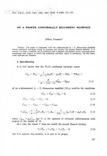 On a proper conformally recurrent manifold / M. Prvanović