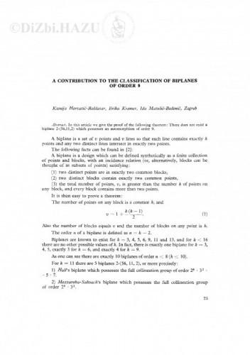 A contribution to the classification of biplanes of order 9 / K. Horvatić-Baldasar, E. Kramer, I. Matulić-Bedenić