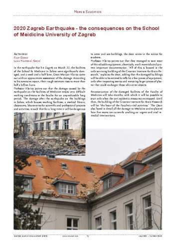 2020 Earthquake - the consequences on the School of Medicine University of Zagreb : News & Education / Filip Đerke, Luka Filipović-Grčić