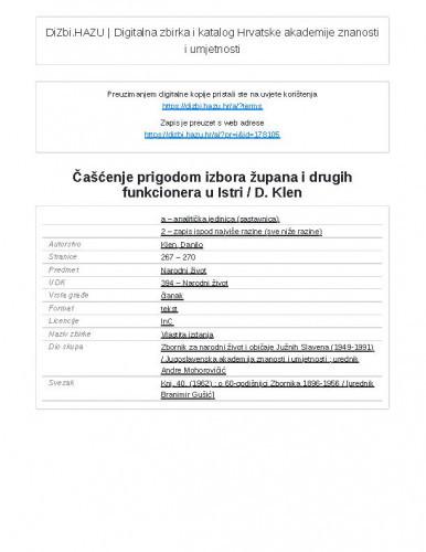 Čašćenje prigodom izbora župana i drugih funkcionera u Istri / D. Klen