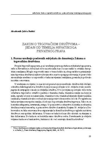 Zakon o trgovačkim društvima – jedan od temelja hrvatskoga privatnog prava / Jakša Barbić