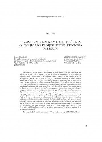 Hrvatski nacionalizam u XIX. i početkom XX. stoljeća na primjeru Rijeke i riječkoga područja / Maja Polić