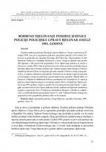 Borbeno djelovanje Posebne jedinice policije Policijske uprave Bjelovar Omege 1991. godine / Jakša Raguž