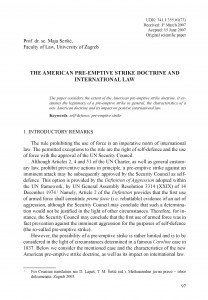 The American pre-emptive strike doctrine and international law / Maja Seršić