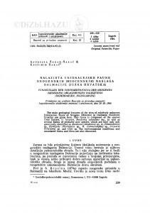 Nalazišta unionacejske faune neogenskih (miocenskih) naslaga Dalmacije (Južna Hrvatska) / A. Žagar-Sakač, K. Sakač