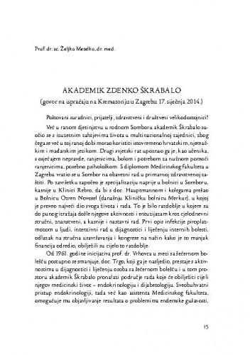 Akademik Zdenko Škrabalo : (govor na ispraćaju na Krematoriju u Zagrebu 17. siječnja 2014.) / Željko Metelko