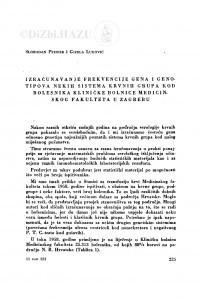 Izračunavanje frekvencije gena i genotipova nekih sistema krvnih grupa kod bolesnika Kliničke bolnice Medicinskog fakulteta u Zagrebu / S. Pfeifer i G. Luković