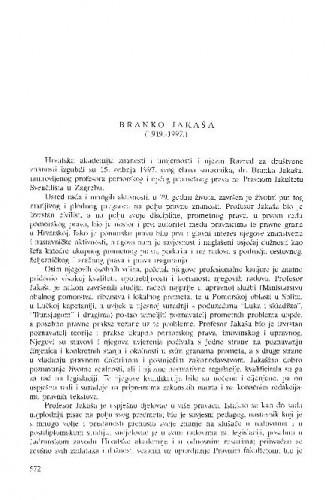 Branko Jakaša : (1919.-1997.) / Vladimir Ibler