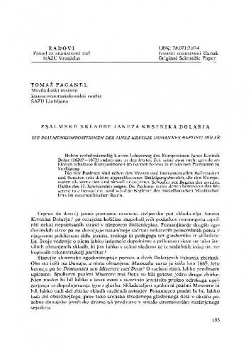 Psalmske skladbe Janeza Krstnika Dolarja / Tomaž Faganel