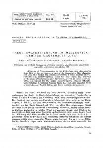 Neoschwagerinenfund im Medvednica-Gebirge (Zagrebačka gora) / Donata Devidé-Nedela, Vanda Kochansky-Devidé