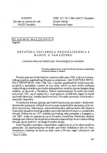 Hrvatska pavlinska redozajednica i barok u Varaždinu / Vladimir Maleković