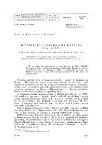 O porijeklu Friedricha Katzera  (1861-1925) / V. Kochansky-Devidé
