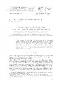 <Ein> Beitrag zur Kenntnis der tertiären Fische Sloweniens / M. Paunović, B. Aničić, A. Ramovš