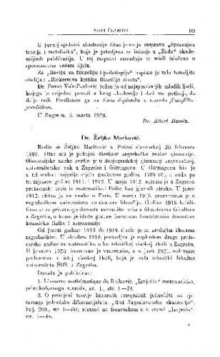 Dr. Željko Marković / S. Hondl i V. Varićak