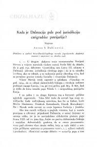 Kada je Dalmacija pala pod jurisdikciju carigradske patrijaršije? / A. S. Dabinović