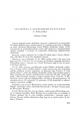 Izvještaj o studijskom putovanju u Poljsku / V. Vranić