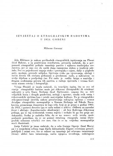 Izvještaj o etnografskim radovima u 1954. godini / M. Gavazzi