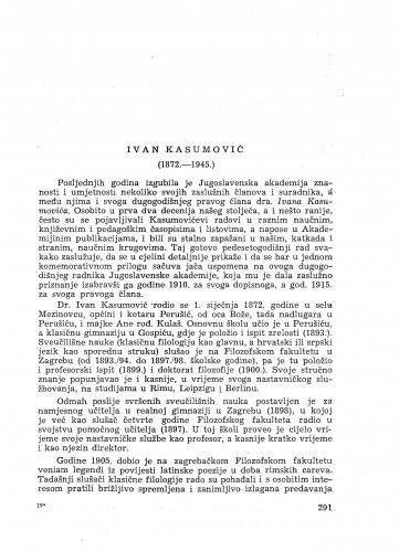 Ivan Kasumović : (1872-1945) : [nekrolog] / B. Magarašević