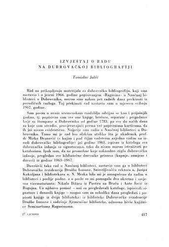 Izvještaj o radu na dubrovačkoj bibliografiji / T. Jakić