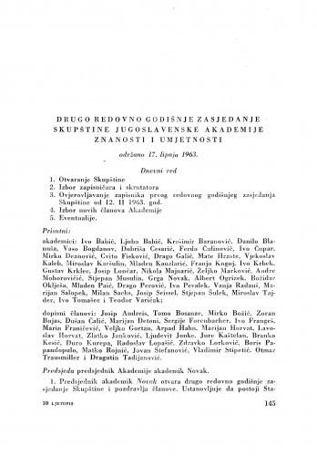 Drugo redovno godišnje zasjedanje skupštine Jugoslavenske akademije znanosti i umjetnosti održano 17. lipnja 1963.