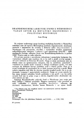 Brandenburški arhivski fond u Nünbergu važan izvor za hrvatsku ekonomsku i političku historiju / I. Erceg