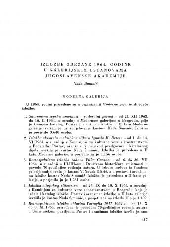 Izložbe održane 1964. godine u galerijskim ustanovama Jugoslavenske akademije / N. Šimunić