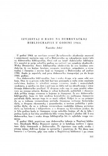Izvještaj o radu na dubrovačkoj bibliografiji u godini 1964. / T. Jakić