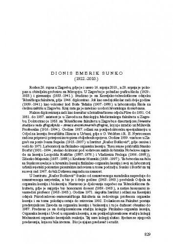 Dionis Emerik Sunko (1922.-2010.) : [nekrolog] / Nenad Trinajstić