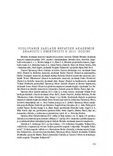 Poslovanje Zaklade Hrvatske akademije znanosti i umjetnosti u 2015. godini