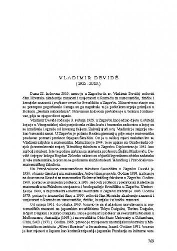 Vladimir Devidé (1925.-2010.) : [nekrolog] / Sibe Mardešić