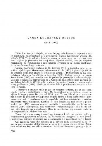 Vanda Kochansky Devidé (1915-1990) : [nekrolozi] / Milan Herak