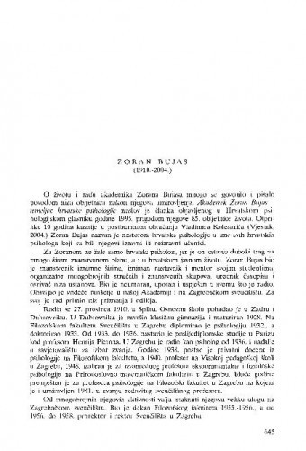 Zoran Bujas (1910.-2004.) : [nekrolog] / Krista Kostial-Šimonović