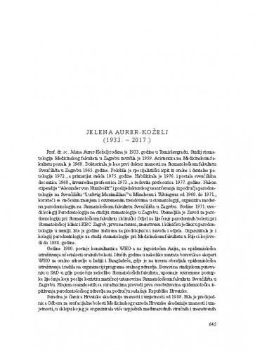Jelena Aurer-Koželj (1933.-2017.) : [nekrolog] / Zrinka Tarle