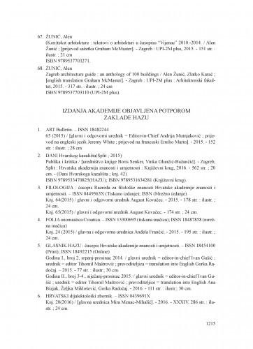 Izdanja Akademije objavljena potporom Zaklade HAZU