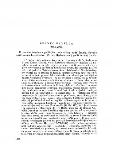 Branko Gavella (1885-1962) : [nekrolog] / M. Matković