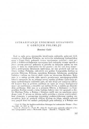 Istraživanje endemske gušavosti u gornjem Polimlju / B. Gušić