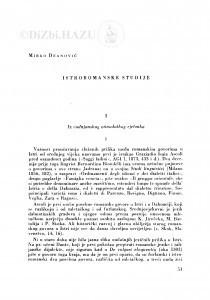 Istroromanske studije / M. Deanović