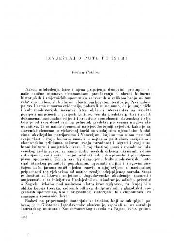 Izvještaj o putu po Istri / F. Paškvan