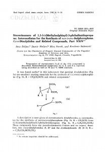 Stereoisomers of 1,1-bis(methylsulphinyl)-3-phthalimidopropane; Intermediates for the synthesis of nor-trans-sulphoraphene. Gem-disulphides and related compounds, part XXIV / A. Deljac, D. Huljev, M. Novak, K. Balenović