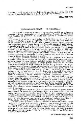 Aleksandar Peleš - in memoriam / Vladimir-Đuro Degan