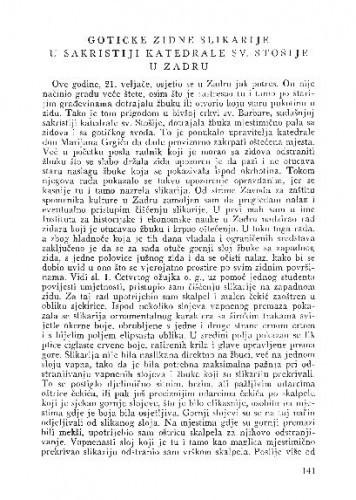 Gotičke zidne slikarije u sakristiji katedrale Sv. Stošije u Zadru / Ivan Tomljenović