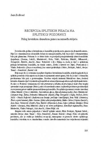Recepcija splitskih pisaca na splitskoj pozornici : prilog hrvatskom dramskom pismu na razmeđu stoljeća / Ivan Bošković